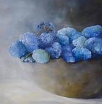 Blaue Hortensien, Öl auf Leinwand, 70x70 cm - Birgit Braun-Buchwaldt - AhRTISTS