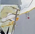 Der Besucher 1, Acryl Mischtrechnik, Collage mit Monotypie - AhRTISTS Annette Nielson