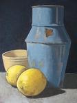 Zitronen mit blauem Gefäß - Öl auf Leinwand - Michael Gottschalk